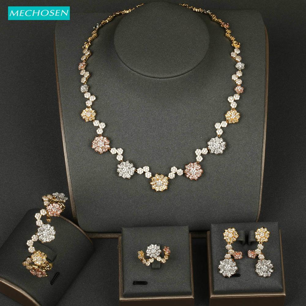 Meselected magnifique nouveautés bijoux ensemble fleur Zircon bracelet collier boucles d'oreilles anneau tricolore mariage ensembles décorations de mariée