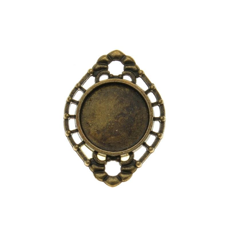 10 conectores de bronce antiguo de bronce para joyería cabujón Oval Base configuración ajuste cabujones de vidrio 14mm adornos de Metal F1040