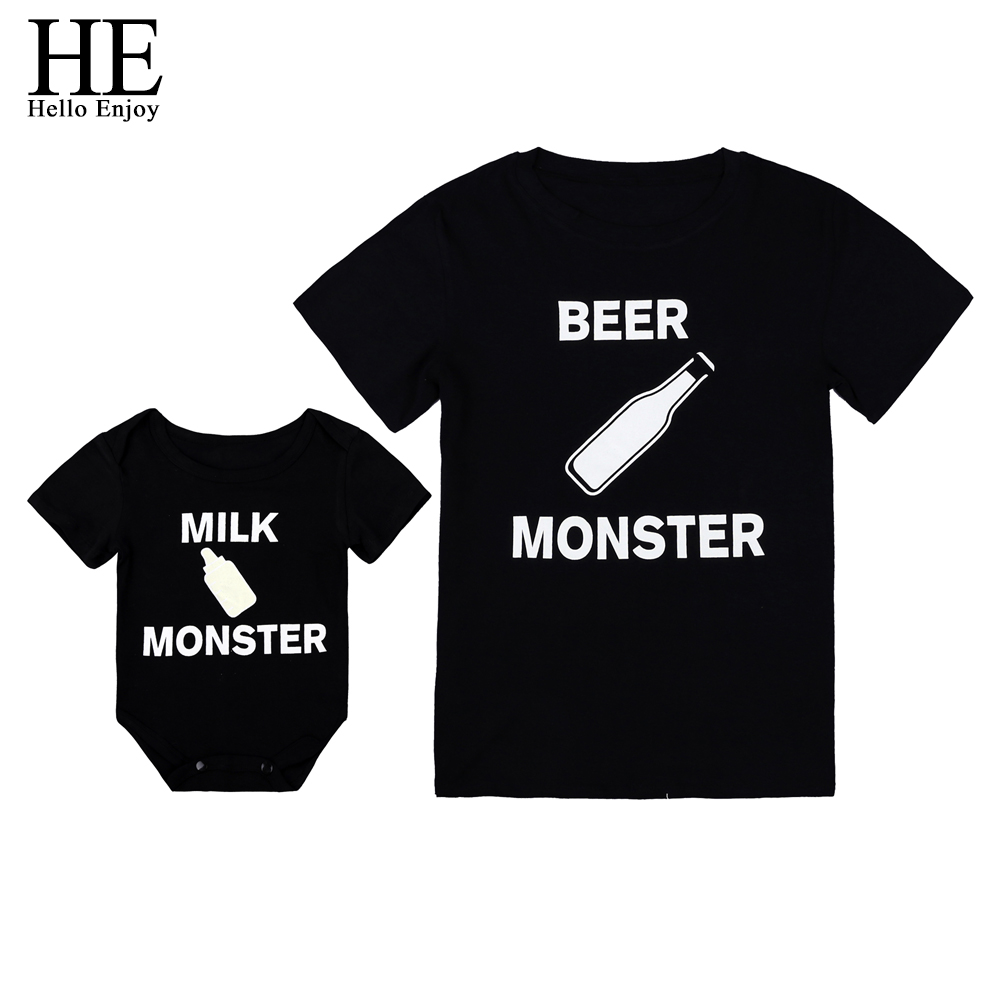 HE Hello Enjoy Family Matching Clothes Look Father And Son T-shirt Black Print Letter Baby Boys Rompers Daddy Tops Tees Kids letter print raglan hoodie