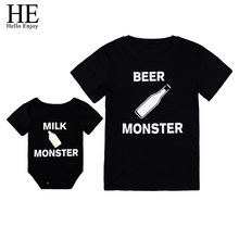 HE Hello Enjoy Family Matching Clothes Look Father And Son T-shirt Black Print Letter Baby Boys Rompers Daddy Tops Tees Kids(China)