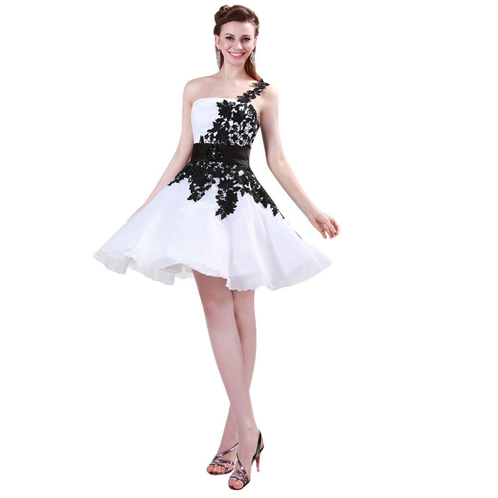 Grace Karin White and Black One Shoulder Lace Short Prom Dresses Ball Gown Knee Length School Party Dress Cute GK4288 7