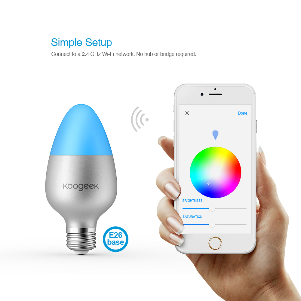Koogeek E26 E27 8W Dimmable Wifi Light Smart Home LED Bulb 16 Million Colors for Apple HomeKit Siri Remote Control Only for IOS