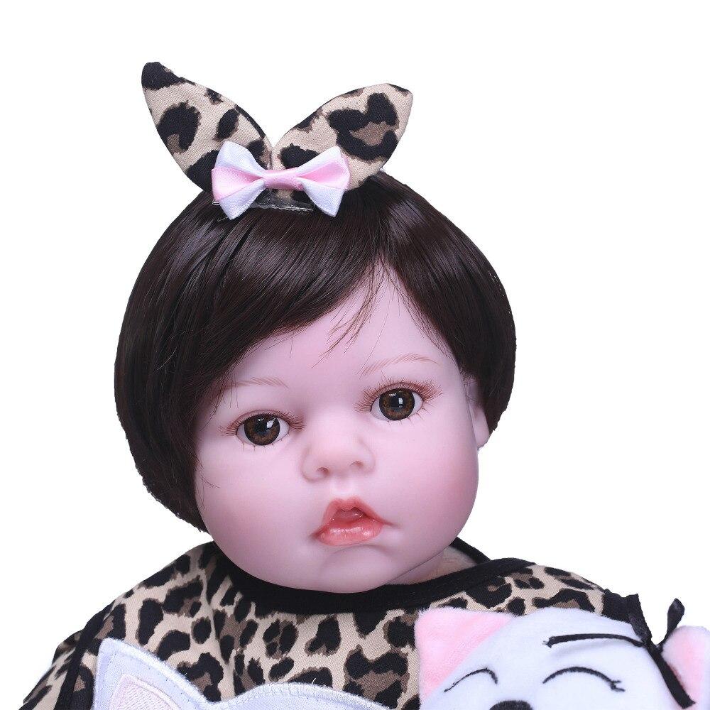 Nicery 20 22 pouces 50 55 cm Bebe Reborn poupée souple Silicone garçon fille jouet Reborn bébé poupée cadeau pour enfants rose chat poupée - 5