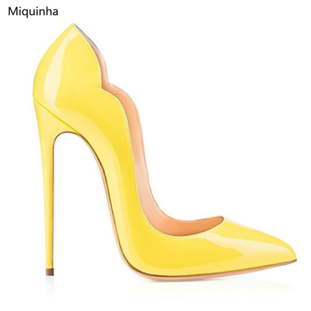 Yellow Nude Red Wave High Heels Fashion Deisgner Pointed Toe 12CM Stiletto  Heels Dress Party Women 9c8df7c35074