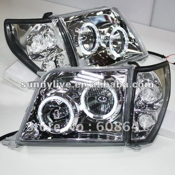 For TOYOTA Prado 3400 FJ90 LC90 Head Lamp Angel Eyes 98 to 03 Sliver Type