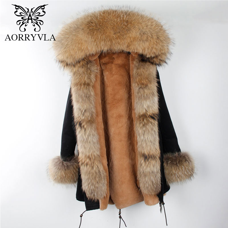 AORRYVLA 2018 Winter Coat Female Thick Fur Hood Long Natural Raccoon Fur Collar With Cuff Fur Thick Warm Women Winter   Parka