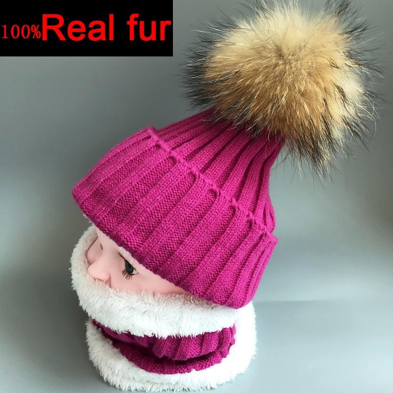100% Real fur winter hats for kids Neck warm knit ski cap scarf fur lining Boys and girls hat set Knitted velvet skullies beanie