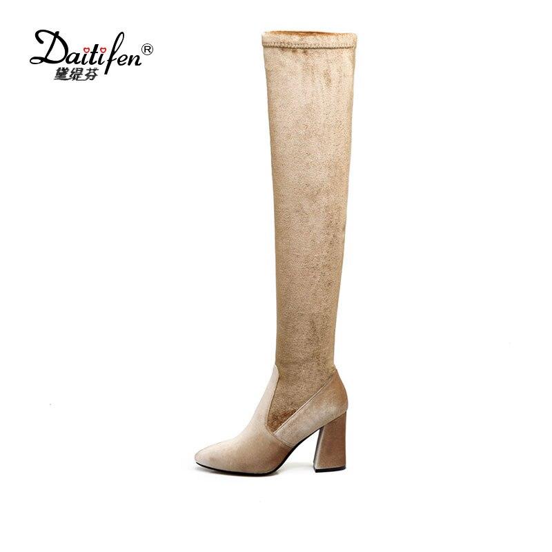 Daitifen Luxury Women Boots Over Knee Boots High Heels Thigh High Boots Autumn Winter Zipper Pointed Toe Stretch Velvet Shoes
