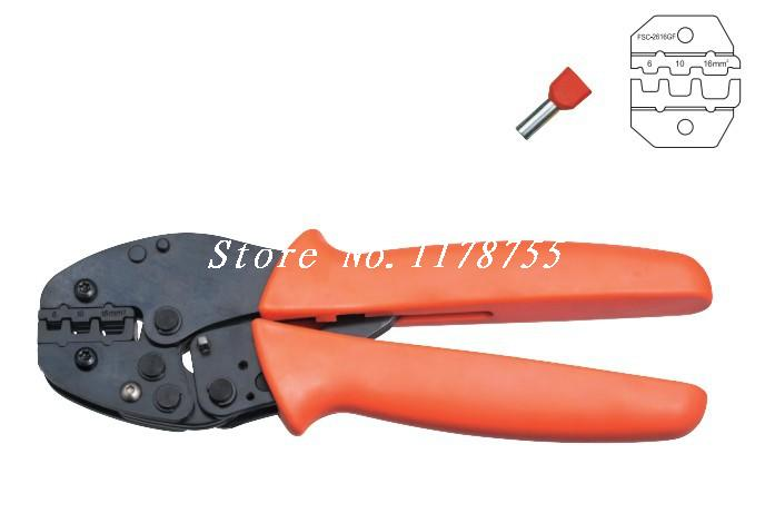 FSC-2616GF Twin Cable End-sleeves Crimping Plier Crimper AWG 10-6 1 x coaxial cable ratchet crimping crimper plier cable rg59 rg6 video cable