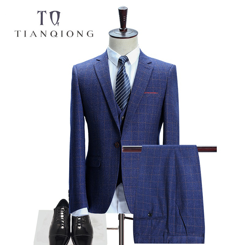 Stylish Grey Sharkskin Business Men Suits Tailor Made Slim Fit Smooth Worsted Wool Blend Wedding Suits