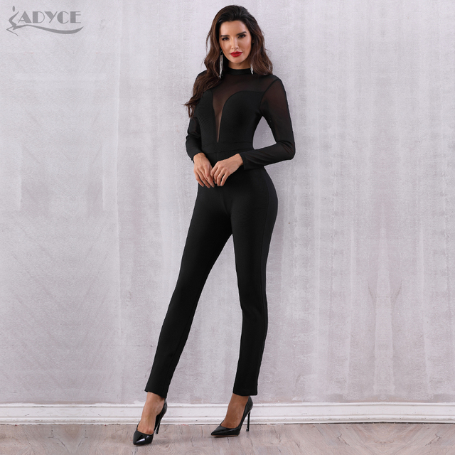 Black Mesh Hollow Out Long Sleeve Rompers Jumpsuit Bodycon Bodysuits 3