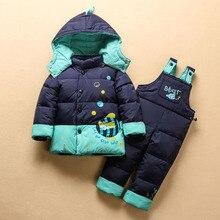 Cute Boys Girls Winter Jacket Coat Jumpsuit Set Warm Clothing Set Boys Ski Suit Girl Down