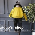 2016 autumn and winter new girls super bright knitting stitching wide shoulder sweatershirt free shipping