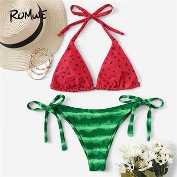 8d67cfabab21 2019 nuevas mujeres sexy bikini set traje de baño push-up acolchado rayado  traje de baño verano 2 ...