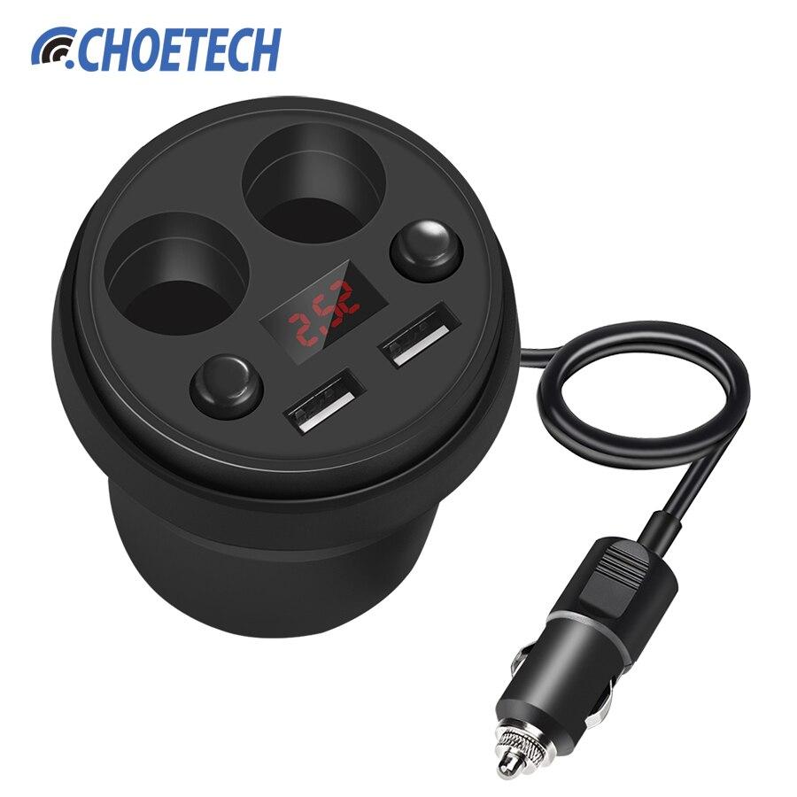 Choetech universal Cup car Charger 5 V/3.1a dual USB Car-cargador para iPhone 7 Plus para Samsung s8 con 2 socket Mecheros