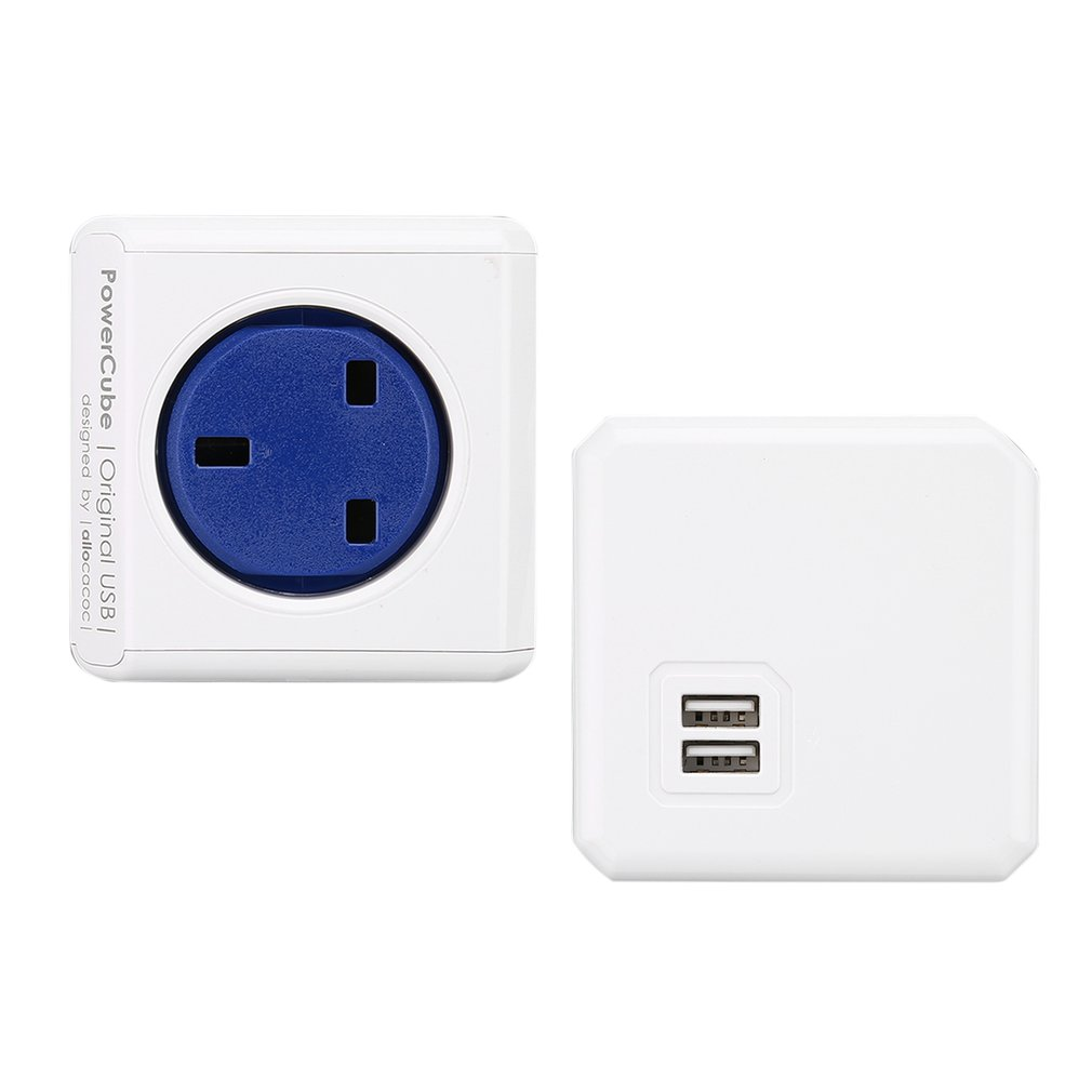 USB PowerCube Socket Adapter Wall Mount Magic Cube UK Plug Multi-Outlets Power Strip Extension for Home Office Multi Switched