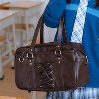 College Student Orthodox Japanese Cosplay JK Uniform Handbag Kawaii Lace up Bow Totes Harajuku PU Shoulder Bag 4Colors SchoolBag