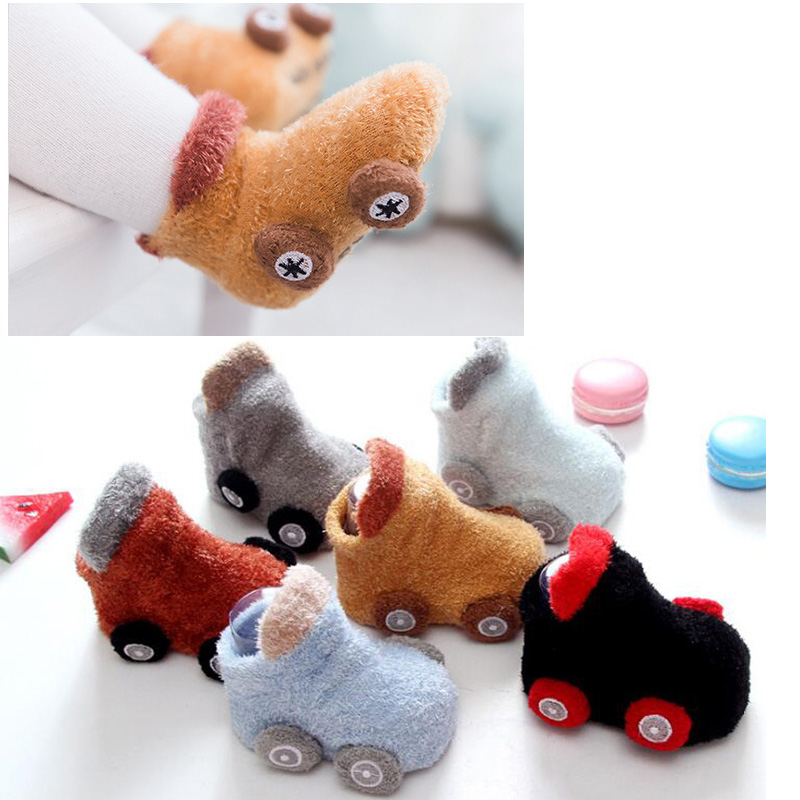 New Autumn/winter Cartoon Car Baby Socks Non-slip Glue Baby's Toddler Socks Warm Socks
