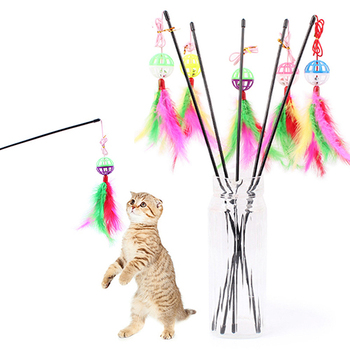 1 cat toy Colorful Feather Interactive With Bell Stick Toy for cat doy pet supply Home Decor image