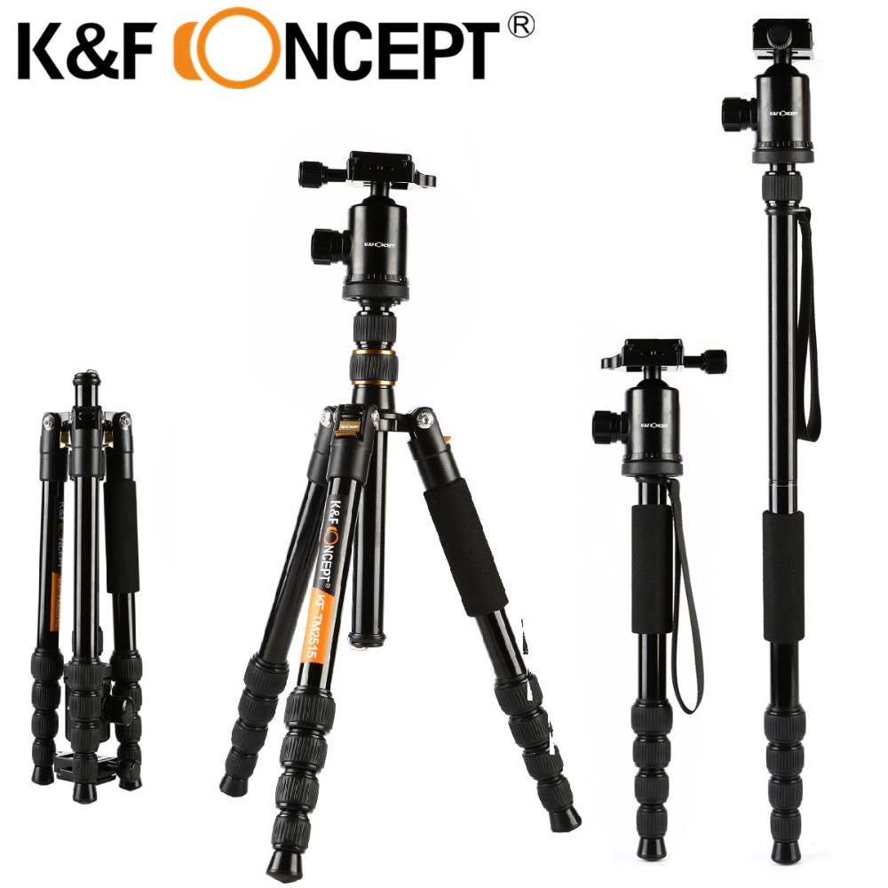 K&F CONCEPT KF-TM2515 Camera Lightweight Tripod Foldable with 5 Section Column Universal for Canon Nikon DSRL Camera