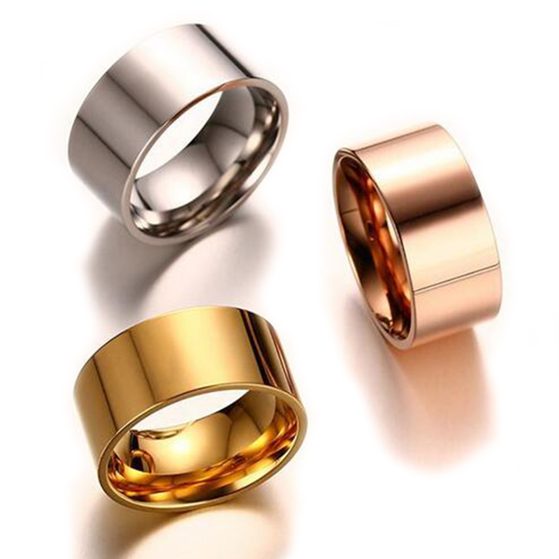 10 Mm Width Wedding Band Ring For Women Silver Rose Gold-Color Stainless Steel Female Jewelry Ring Wholesale Never Fade