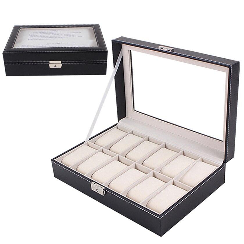2019 offre spéciale grand écrin de montre boîte à bijoux en cuir verre 12 fentes hommes noir nouveau #0713