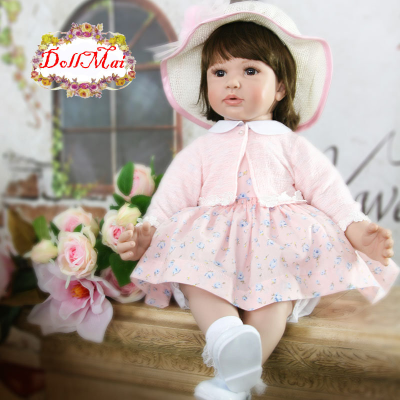 2018 Latest new 24inch Silicone Reborn Baby Doll Toys With hat Princess Dolls Lovely Birthday Gift Girls Brinquedos