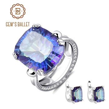 GEM'S BALLET 2018 New 10.12ct Fashion Natural Blueish Mystic Quartz Jewelry Set 925 Sterling Silver Earrings Ring Set For Women