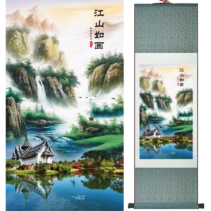 Mountain and river painting Home Office Decoration Chinese scroll painting mountain and River painting LTW2017112605