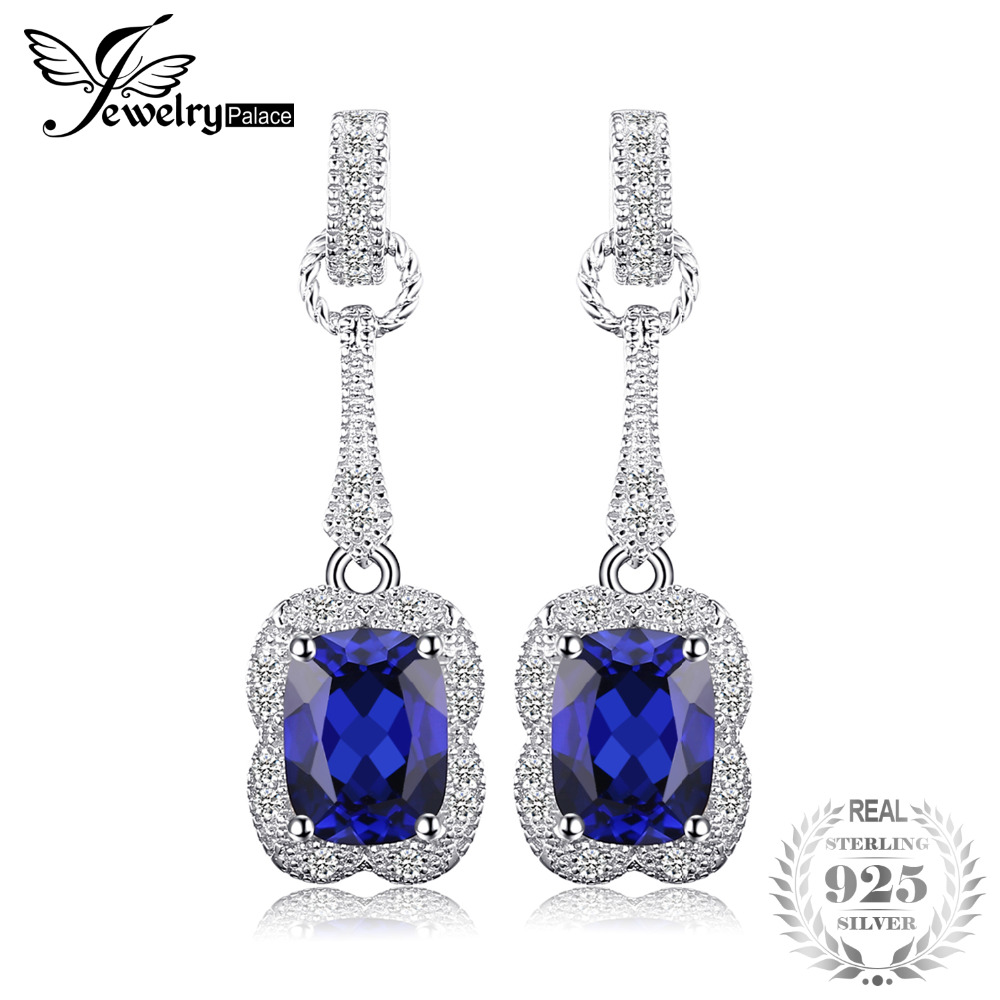 JewelryPalace Elegant Rectangle 3.7ct Created Sapphire Drop Dangle Earrings 925 Sterling Silver Brand Jewelry For Women Hot Sale pair of charming rectangle drop earrings for women