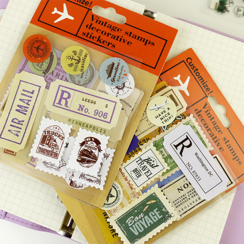 Classic Travel Stamps Stickers Retro Sticker For Midori Traveler's Notebook Planner Decorative Sticker School Vintage Stationery