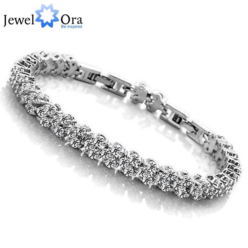 Prix pour Mis à jour! Chaîne étendue AAA Cubique Zircone Accessoires Mousseux De Mariage Bracelets & Bangles Pour Les Femmes 2014 (JewelOra BA100496)