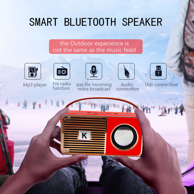Altavoz bluetooth inalámbrico de alta fidelidad Retro radio de frecuencia completa altavoz estéreo bajo altavoz portátil al aire libre
