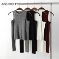 Anspretty Apparel Fashion 2017 knitted off shoulder crop tops for women tight slim short t shirt long sleeve sexy t-shirts