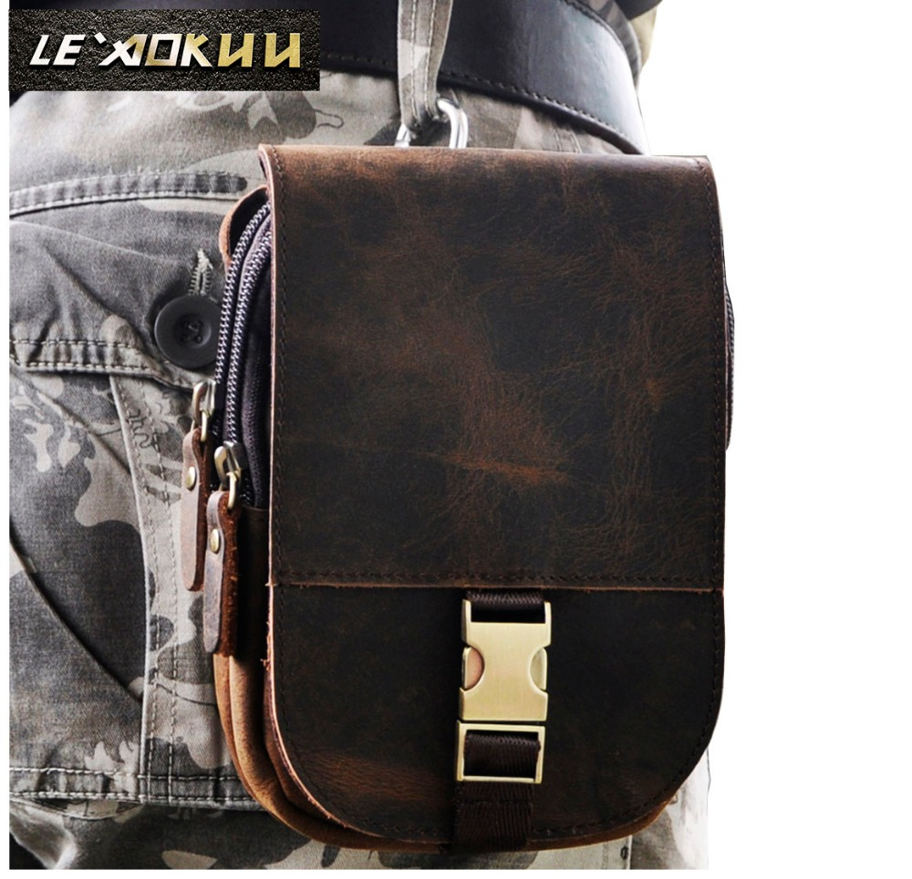 Real Leather Cowhide Retro Men Design Casual Daily Use Small Waist Belt Bag Hook Pack Fashion 5 Phone Case Waist Pouch 6185 elastic waist color block panel pouch design trunk