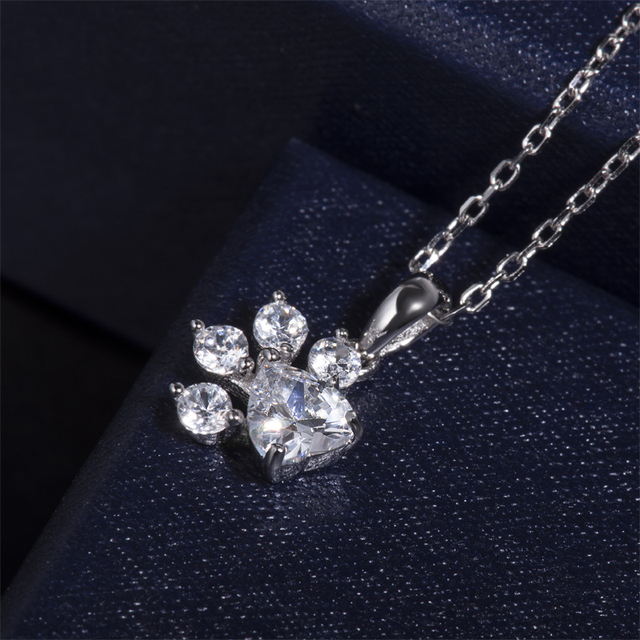 Crystal Cat Paw Necklace 100% Sterling Silver 1