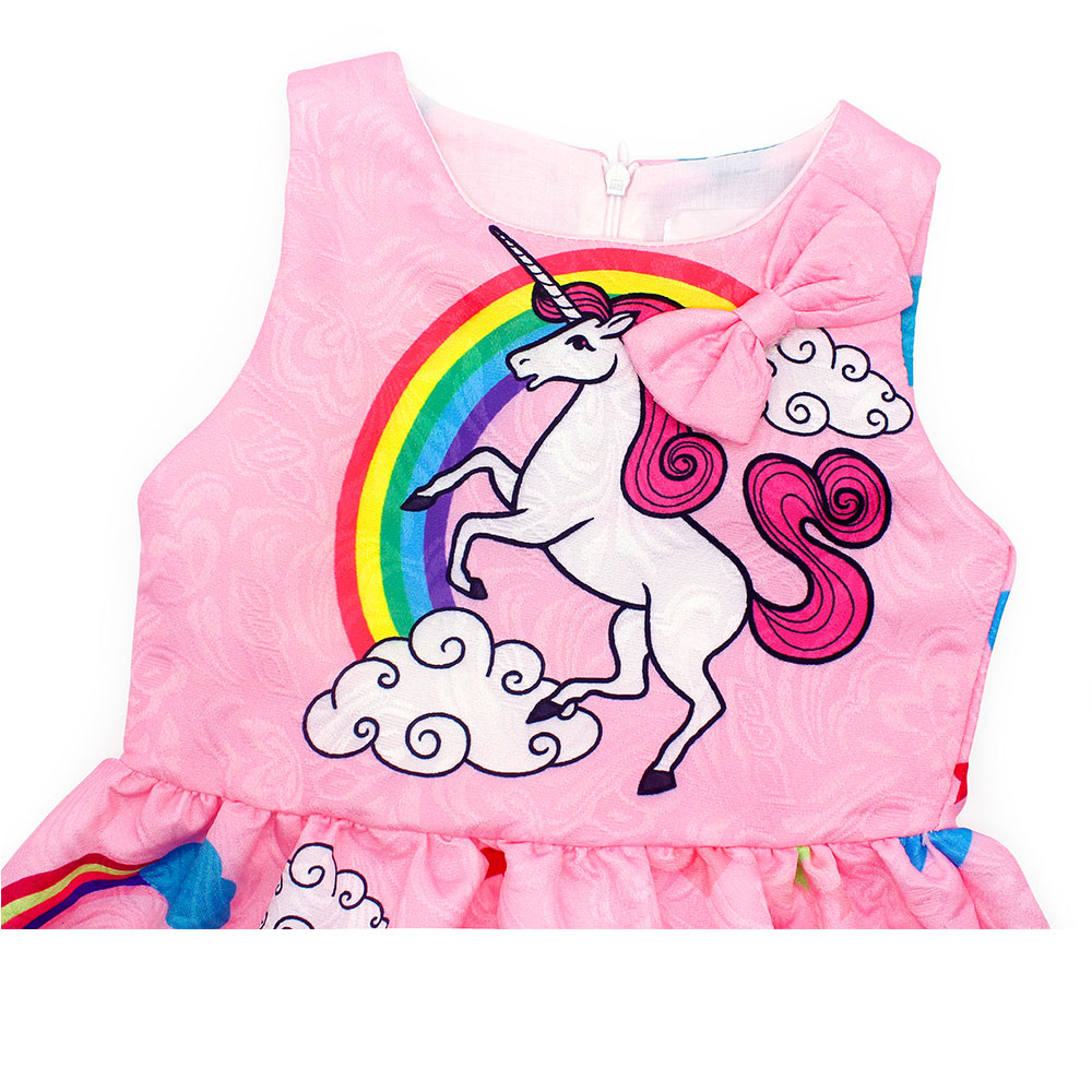 AmzBarley Cartoon Unicorn dress Sleeveless Bow knot girls unicorn costume girls purple dress Pink Blue Party costume clothes in Dresses from Mother Kids