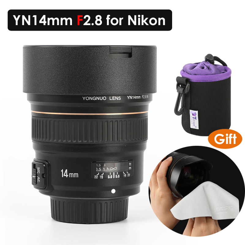 US $469 98  YONGNUO 14mm F2 8 Ultra wide Angle Prime Lens YN14mm Auto Focus  AF MF Metal Mount Lens for Nikon D5300 D3400 D610 D750 D810 D760-in Camera