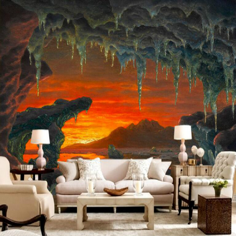 Western painting an arctic iceberg cave landscape large murals 3D wallpaper living room bedroom  TV background wall 3D wallpaper blue earth cosmic sky zenith living room ceiling murals 3d wallpaper the living room bedroom study paper 3d wallpaper
