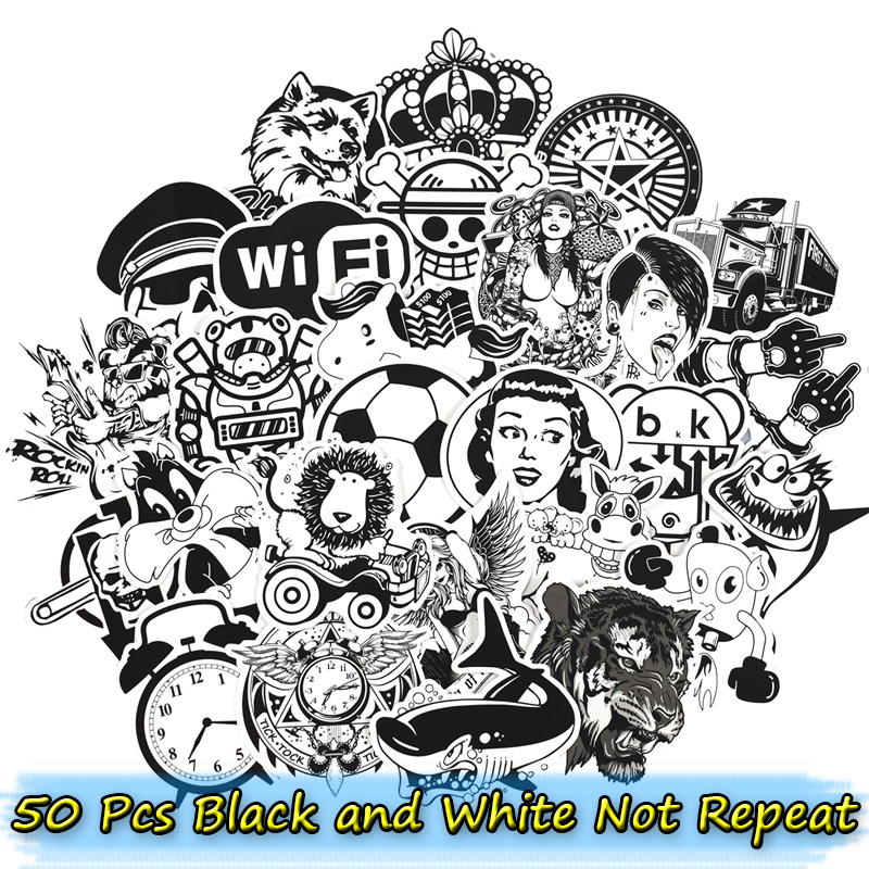 50 Pcs Black and White Stickers for Laptop Motorcycle Car Styling Luggage Phone Bicycle Home Decor Decals Cool DIY PVC Sticker стоимость
