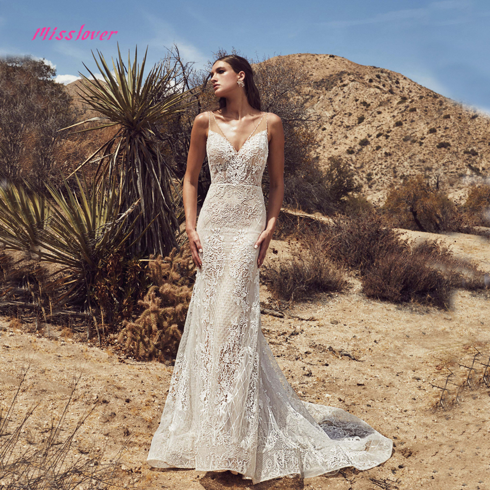 Vestido De Noiva Luxury Vintage Lace Mermaid Bride Wedding Dress 2019 New Bridal Gown Sexy V-neck Backless Robe De Mariee