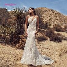 Vestido De Noiva lüks Vintage dantel Mermaid gelin düğün elbisesi 2019 yeni gelin kıyafeti seksi v yaka backless Robe de mariee