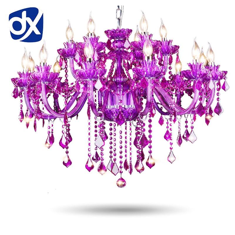 цена на High Quality Purple K9 Crystal Chandelier Lustre Crystal Chandeliers Light Lustres De Cristal Chandelier LED Villa Purple Lamp