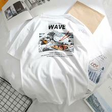 Japanese retro style trend loose version men and women couple models short-sleeved high quality polyester t-shirt(China)