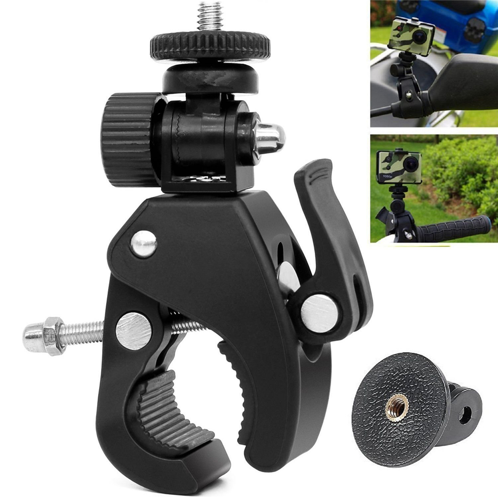 Bike Bicycle Motorcycle Handlebar Clamp Mount for Gopro Hero 5 6 4 SJCAM Eken Yi 4K Camera Holder Clip Go Pro Cycling Accessory high quality bike cycle aluminum handlebar bar clamp mount for gopro hero 1 2 3 3 camera mount holder