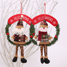 feliz navidad spanish hanging santa clause snowman christmas wreath grand christmas decoration for home door tree