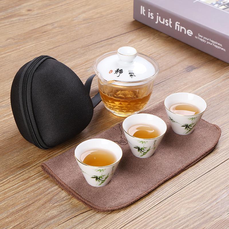 Ensemble de thé Kung Fu chinois élégant motif Lotus pour voyage Floral céramique voyage thé thé cérémonie Drinkware ensemble de costume de voyage