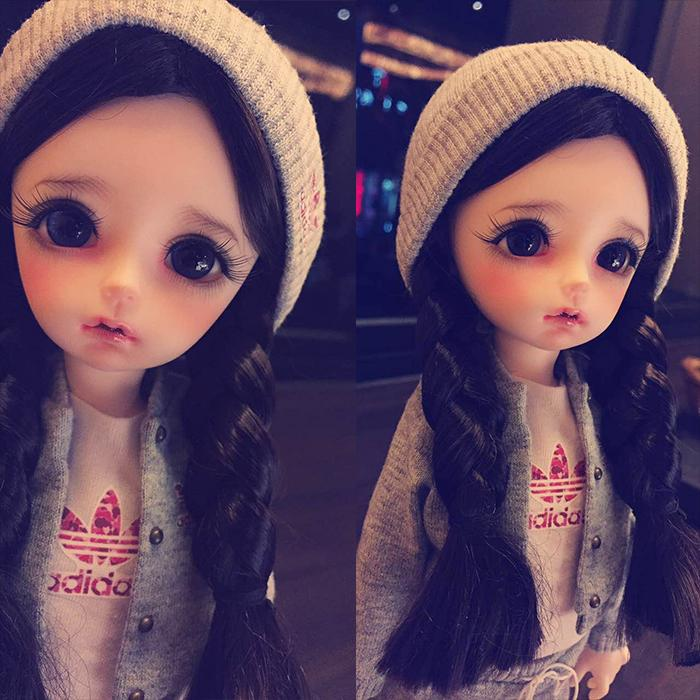 BJD wigs double braided jerryberry multicolor faux mohair SD doll 1 3 1 4 1 6