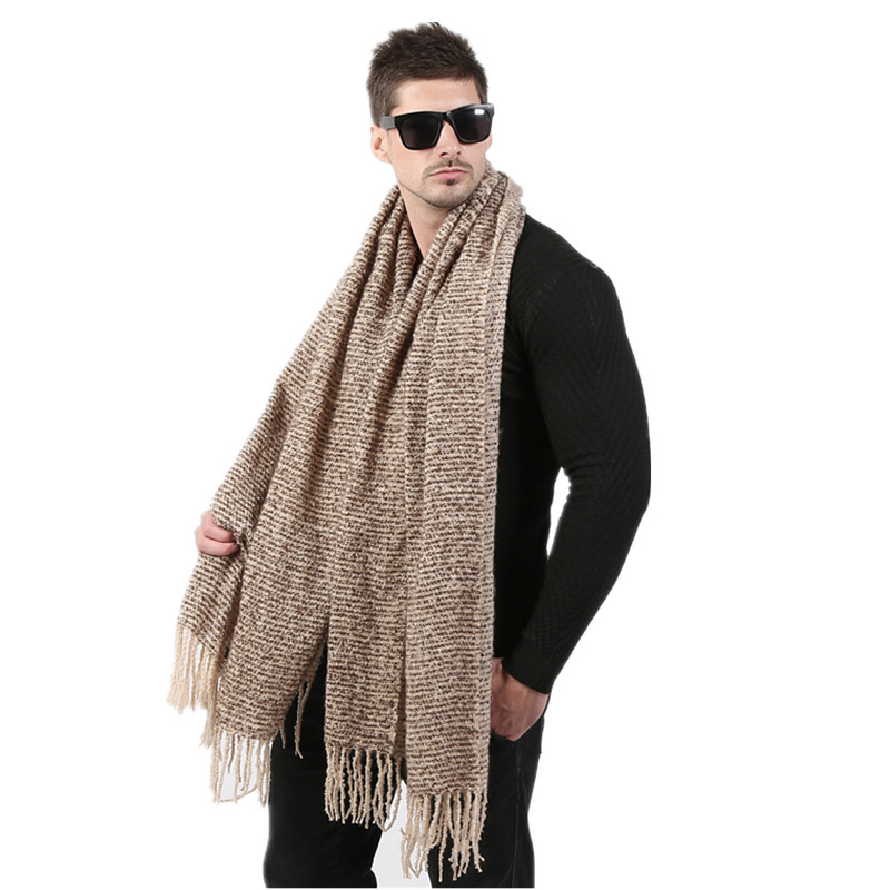 Helisopus Fashion Scarf Men Autumn Winter Gradient Color Blanket Scarf Couple's Knitted Cashmere Long Scarf 70cm*200cm