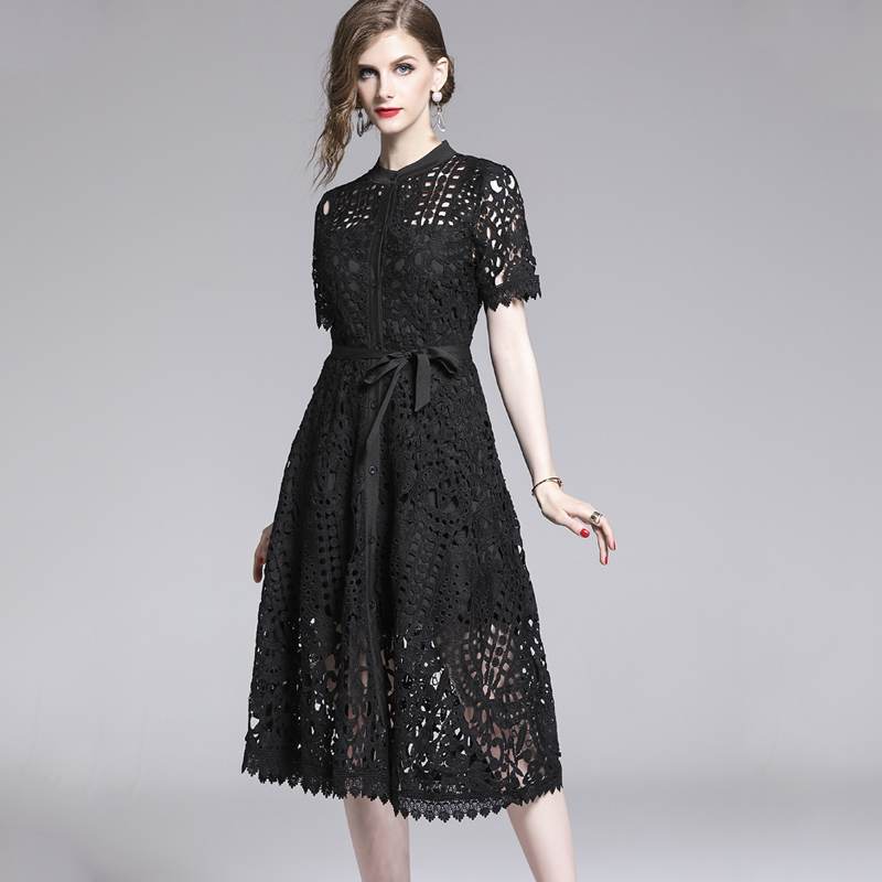 Elegant White Black Lace Hollow Out Dress 1
